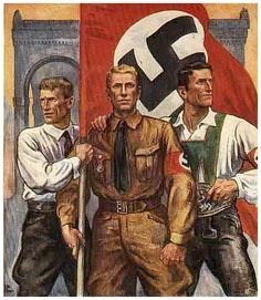 The young, virile Anglo-Saxon Germans..  HISTORY IN IMAGES: Pictures Of War, History , WW2: Posters from Nazi Germany