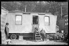 A.Fenwick sat on the steps of a showman's caravan. Photo courtesy of the Arthur J Fenwick Collection of circus material, Tyne & Wear Archives & Museums Creepy Old Photos, Vintage Circus Photos, Old Circus, Camping 3, Circo Vintage, Creepy Vintage, Creepy Clown, Vintage Travel Trailers, Vintage Campers