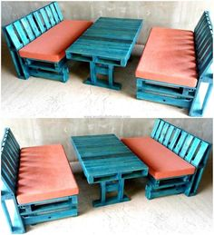 Let us start with an idea which can be used for the home or for the business place as well like the restaurants. This reclaimed wood pallet furniture idea will arrange the seating for many people and a restaurant owner can make as many sets of this idea as he/she wants to fill the area.
