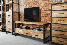 9 Attentive Tips AND Tricks: Industrial Living Room Cozy industrial wood furniture. Industrial Entertainment Center, Industrial Tv Stand, Design Industrial, Vintage Industrial Furniture, Industrial Living, Metal Furniture, Modern Industrial, Diy Furniture, Furniture Design
