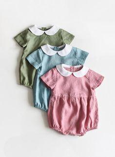 Linen Romper Baby Romper Sage Green Peter Pan Collar Linen