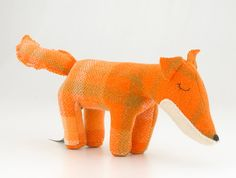 Vintage Fox Toy - Orange check | Cute on a shelf in a kids room.