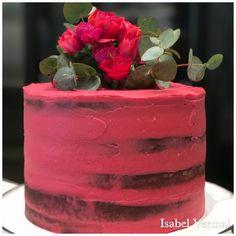 Torta Vintage semidesnuda roja con flores naturales