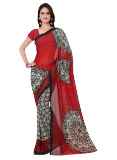 Beautiful printed red colour georgette saree