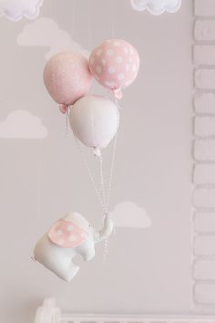 Kids Room Decoratio // Nursery Decoration // Elephant and Balloon // Baby Mobile // Pink and Grey //