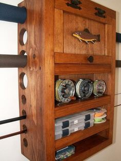 make fly fishing furniture such as fly tying tables and benches, fly rod racks and cabinets, fly storage cabinets, material storage cabinets, and more! Fly Fishing Gear, Gone Fishing, Trout Fishing, Fishing Tips, Fishing Lures, Fishing Stuff, Fishing Tackle, Fishing Apparel, Fishing Meme