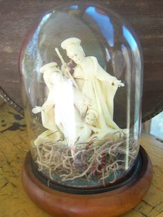 Italian Nativity Cloche White Nativity Christmas by AngelandAnnie, $12.00