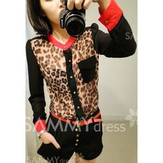 $7.94 Fashinable and Alluring Stand-Up Collar Leopard Pattern Color Block Long Puff Sleeve Shirt For Women