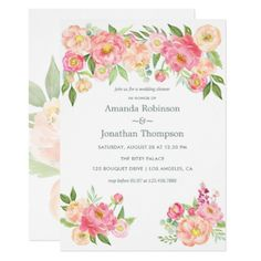 Spring Couple's Shower Peony flowers invitation - shower gifts diy customize creative