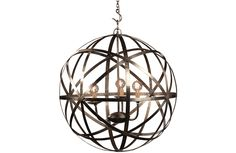 Nickel plated hanging 5-arm globe lamp.Chain and canopy included.25 watt maximum per light bulb. Dimensions: Large: 30x30x30 Small: 22x22x22 Weights: Large: 24 lbs. Small 15 lbs. Share this...