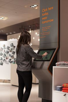 Digital interactive order point in John Lewis, Liverpool. The kiosk brings the online experience into the store for customers to purchase items for collection the following day. Featuring a contemporary and stylish design to blend into the shop. Designed, manufactured and installed by 10 Squared.