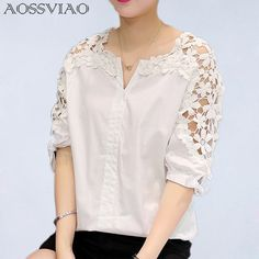 Summer Women Lace Blouses 2017 Fashion Woman Lace Shirt Hollow Out Casual Short Sleeve Women Shirts Tops Plus Size Clothing – Ali Keeper - Stylish clothes White Shirts Women, Blouses For Women, Fashion 2017, Fashion Outfits, Style Fashion, Bold Fashion, Fashion Women, Fashion Clothes, Plus Size Kleidung