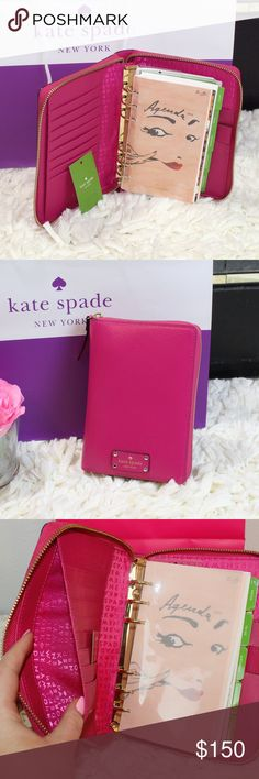 ♠️ Kate Spade Pink Planner Full Zip Agenda Zip around closure slide pocket and pen slot 8 credit card slots includes Oct 2016 to December 2017 inserts - Yearly views, monthly views, weekly views, daily views, Notes section, To Do section, Restaurants section, Birthdays section, and Addresses section. Fully lined in engraved Kate Spade New York signature satin fabric Golden metallic ring binding Eight credit card slots Two full length billfold slots Pen holder One slip pocket Ruler…