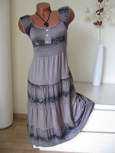 Langes Sommerkleid Stufen Kleid Tunika Knöpfe Muster...