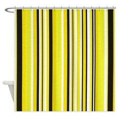 Yellow Pinstripes Shower Curtain