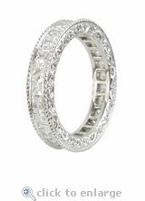 CZ Eternity Band Channel Set Princess Cut Square Cubic Zirconia 14K White Gold by Ziamond. The Lillian Eternity Band features a single row of channel set round cz with beautiful engraving for a Victorian look. $1195 #ziamond #cubiczirconia #cz #eternityband #wedding #solitaire #ring #jewelry #diamond