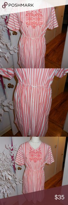 """Tommy Hilfiger NEW stripe drawstring dress L 12/14 Welcome. Here is a super cute Hilfiger dress or swim suit topper sz L. It is orange and white with a drawstring waist and an embroidered front. It has a curved bottom with small side bottom splits. New and never worn. Measurements: armpit to armpit - 40"""", waist - 36"""", hips - 44', length - 37"""". Thanks. Tommy Hilfiger Dresses"""