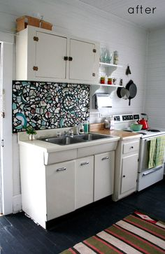 before and after: kitchen redo   mosaic backsplash
