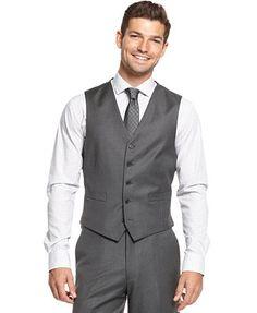 Ryan Seacrest Distinction Grey Stripe Slim-Fit Vest