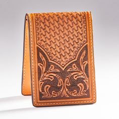 Basket Tooled Money Clip Wallet - Accessories - National Cowboy Museum