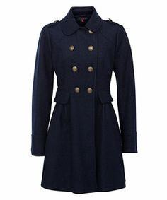Navy (Blue) Navy Wool Skirted Military Coat | 256988741 | New Look