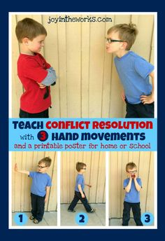 An easy to way to teach conflict resolution to kids with 3 simple hand movements, Plus a printable poster for home or school