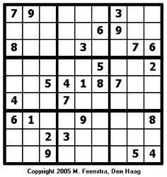 Makkelijke sudoku puzzel 1