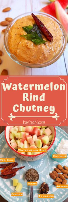 Watermelon chutney is a simple, healthy and tasty side dish made with the rind(white part) of watermelon, goes well with idly, dosa, sandwiches or any other breakfast dish.  Healthy & tasty chutney   kaviruchi.com ♡ #WatermelonRindChutney #ChutneyRecipe #WatermelonCurry #watermelon-rind-recipes-indian Indian Side Dishes, Watermelon Rind, Chutney Recipes, Healthy Vegetables, Tamarind, Breakfast Dishes, Artichoke, Jelly, Cabbage
