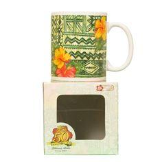 50th Anniversary Tapa Hibiscus Mug~Green