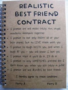 ReALiStiC Best Friend Contract – 5 x 7 journal – ReALiStiC Best Friend Vertrag – 5 x 7 Tagebuch – Related posts: ReALiStiC Best Friend Vertrag – 5 x 7 Tagebuch – … Bester Freund Vertrag – Tagebuch – Geschenke … Best Friend Bucket List, Best Friend Goals, Best Friend Things, Best Friend Book, Best Friend Test, Letter To Best Friend, Friend Challenges, Lines For Best Friend, Dating Your Best Friend
