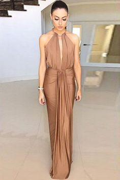 ALIOFERTAS BRASIL Vestido longa feminino sem manga cintura...