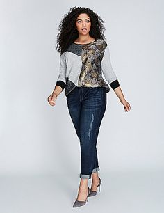 """The sweatshirt silhouette says """"comfy."""" The fabric-mixing and metallics say """"totally pulled together."""" Dolman sleeves. Banded sleeves and bottom. lanebryant.com"""