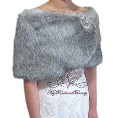 Faux Fur stole Grey Chinchilla Bridal Wrap Fur by MyRadiantBeauty