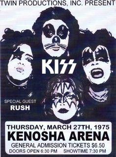 KISS Ice Arena ,Kenosha,WI,USA 1975 Concert Poster