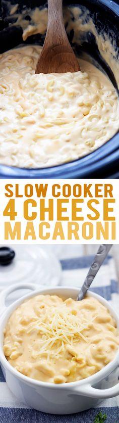 Slow Cooker 4 Cheese Macaroni | Creme de la Crumb
