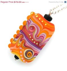 Items similar to Michal S- Lampwork Jewelry orange & pink necklace pendant glass and sterling silver on Etsy Beaded Jewelry Designs, Unique Jewelry, Glass Pendants, Glass Beads, Beads Pictures, Pink Necklace, Beading Tutorials, How To Make Beads, Lampwork Beads