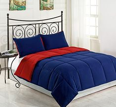 Cozy Beddings Goose Down Alternative Comforter Set, Twin, Red/Blue
