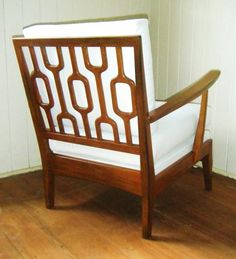 MCM Danish chair with googie carved wood back.
