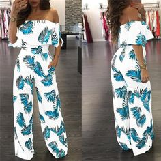 US Seller Jumpsuits Women Clubwear Short Sleeve Playsuit Sexy Floral Print Rompers Womens Jumpsuit Long Trousers Pants Rompers Women, Jumpsuits For Women, Off Shoulder Jumpsuit, Long Jumpsuits, Evening Jumpsuits, Clubwear, Cute Outfits, Fashion Outfits, Fashion Wigs