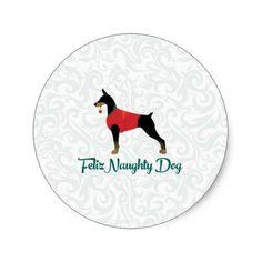 Doberman Pinscher Feliz Naughty Dog Christmas Classic Round Sticker - christmas craft supplies cyo merry xmas santa claus family holidays