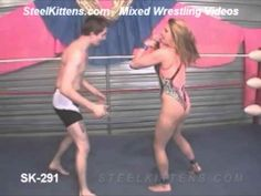 Mixed Wrestling Video | Intergender | Pro Wrestling | Submission  http://www.steelkittens.com Mixed Wrestling Video, Intergender, Pro Wrestling, Submission Wrestling. Female Wrestler Belle. See More Suplexes, Boston crab, tight presses, submission holds, and great counter attacks in Mixed Wrestling matches at http://www.SteelKittens.com
