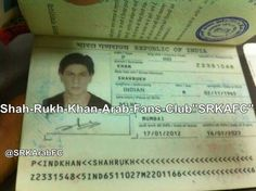 Image of Passport of SRK. I don't know it is real or not.