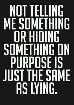 Withholding the Truth because you know what ever that action was/is.... it is wrong.. it's still a lie