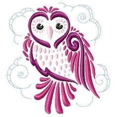 Delicate Owls  machine embroidery designs