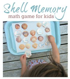 math games for kids shell memory game (plus recommended books) <-- could use other objects besides shells, too. Ocean Activities, Math Activities For Kids, Kindergarten Math, Fun Math, Educational Activities, Preschool Activities, Nursery Activities, Preschool Education, Toddler Preschool