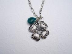 Silver Clover Necklace Green Jade Lucky Briolette