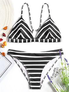 78fc548649 Chevron Stripe Cami Bikini Set  Fashion  Womens  Swimwear  WhiteAndBlack