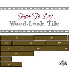 How do you lay wood-look tile? Especially the long pieces? I decided on 3 lengths, and the results are absolutely amazing! Wood Plank Flooring, Wood Tile Floors, Kitchen Flooring, Wood Floor Pattern, Floor Patterns, Wood Like Tile, House On The Rock, Diy House Projects, Home Reno