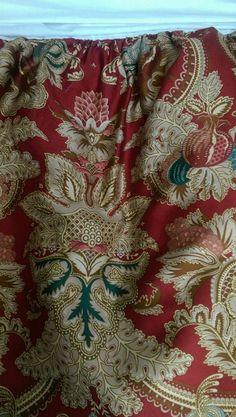 RALPH LAUREN FULL BED SKIRT JARDINIERE FLORAL RED & GOLD COTTON SATEEN #RalphLauren