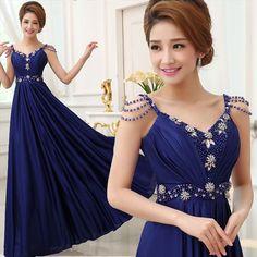 2015 Royal Blue Beading Long Prom Dresses 2015 A Line Sweetheart Neck Open Back Evening Party Gown Vestidos de fiesta Longo